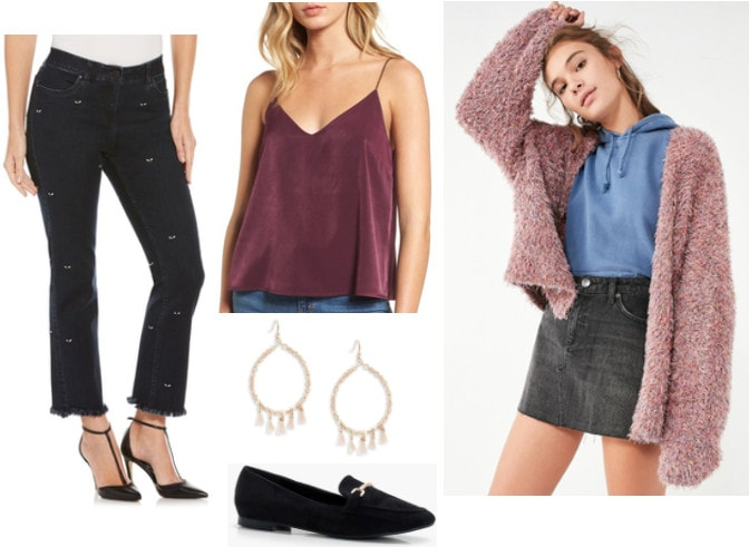 Fall outfit idea inspired by Anthropologie: Pink knit cardigan, burgundy cami, patterned black jeans, black loafer flats, gold earrings