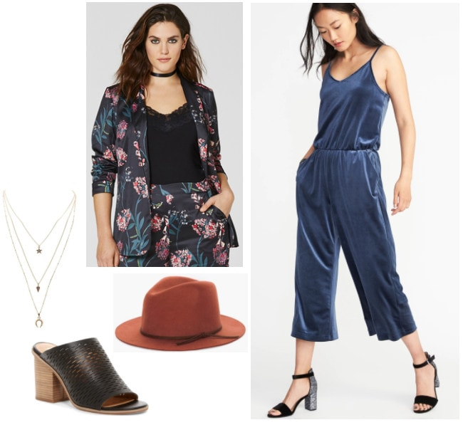 Fall outfit idea inspired by Anthropologie: Blue velvet jumpsuit, floral blazer, brown hat, black mules, layered necklaces
