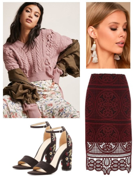 Fall outfit idea inspired by Anthropologie: Red lace overlay pencil skirt, light pink knit cropped sweater, floral embellished heels, tassel earrings