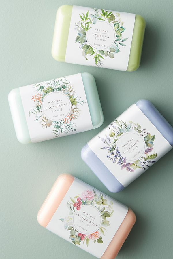 Mothers day gifts: Four assorted soap bars in Verbena (light green color), South Seas (pale turquoise color), Lavender (lavender color), and Lychee Rose (blush pink color) scents