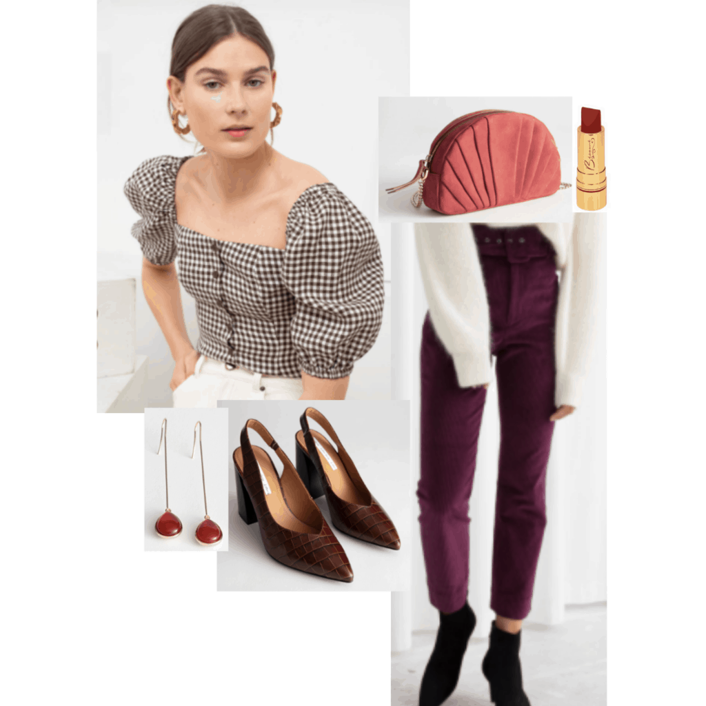 Outfit inspired by The Grand Budapest hotel: Gingham puff sleeve blouse, burgundy velvet pants, brown pumps, red lipstick