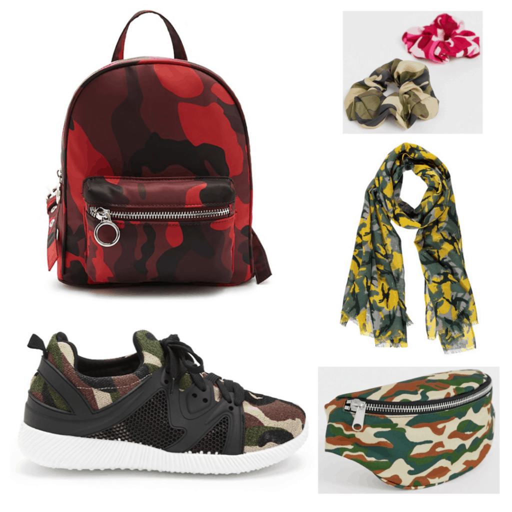 Camo Accessories: Camo Backpack, Camo Shoes, Camo Scrunchies, Camo Scarf, Camo Fanny Pack