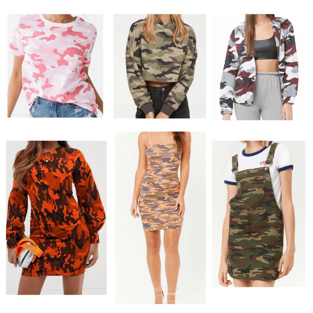 Camo Outfits: Camo Shirt, Camo Sweatshirt, Camo Windbreaker, Camo Sweatshirt Dress, Camo Mini Dress, Camo Overall Dress