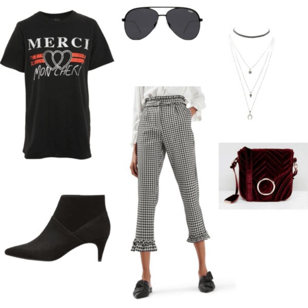Outfit inspired by Caroline Daur (@carodaur)'s style: graphic tee, checked pants, velvet bag