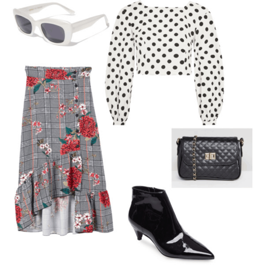polka dots and floral skirt