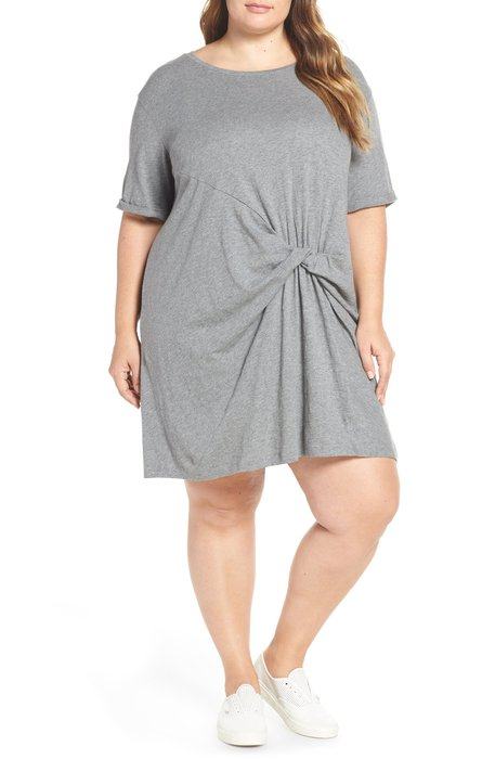 Wrap front gray dress