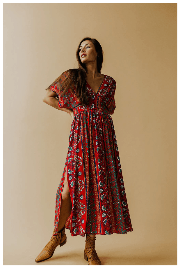 Red patterned midi dress