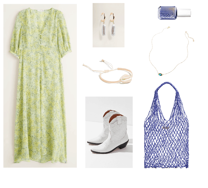 Music festival inspired outfits: Maxi dress, white boots, net bag, shell bracelet, iridescent earrings