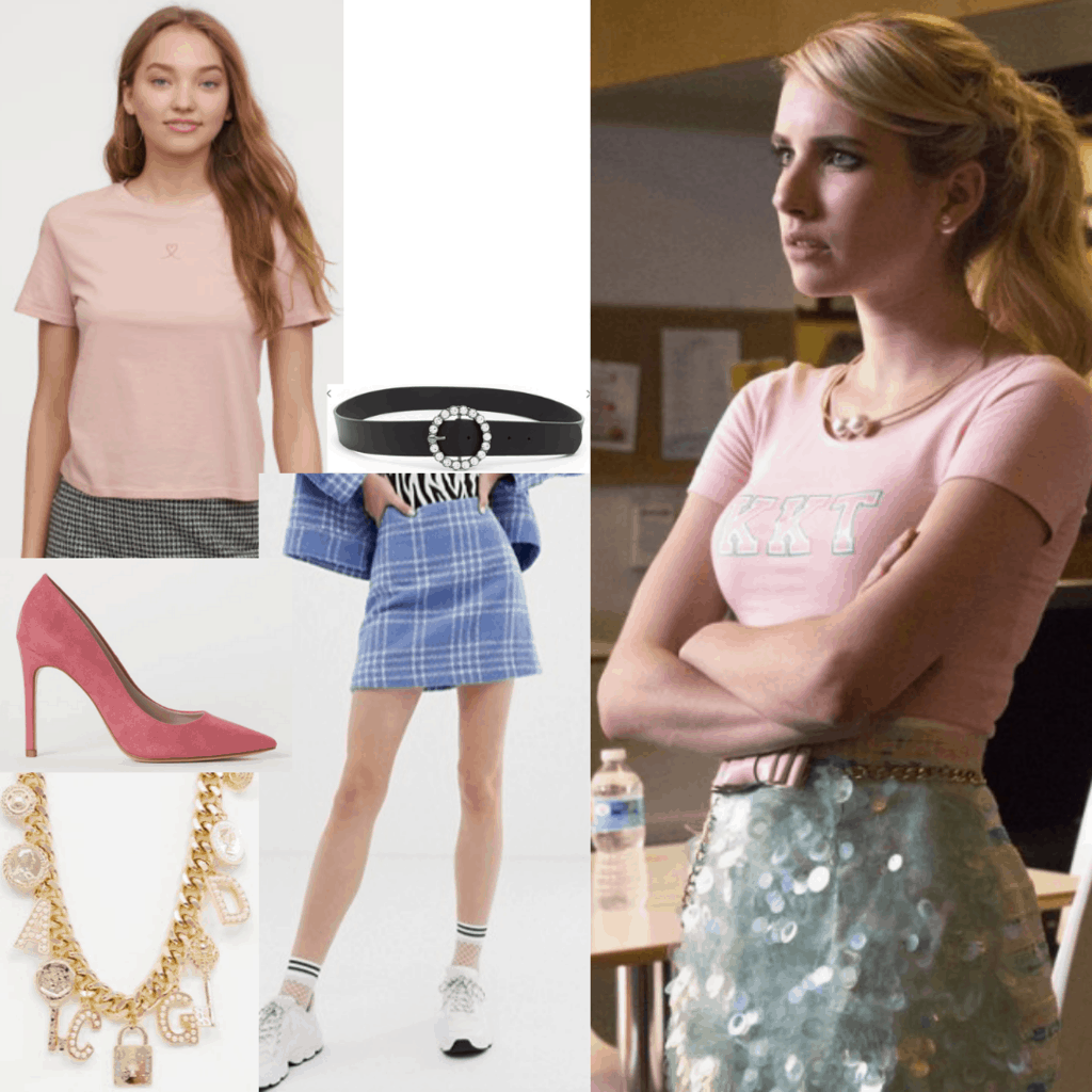 Chanel Oberlin style: Outfit inspired by Chanel's sequin skirt and sorority tshirt