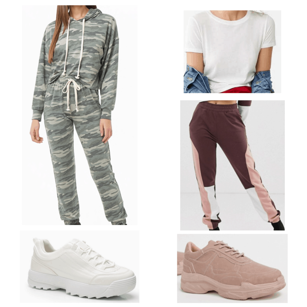 Dad shoes outfits: camo sweatsuit, white t-shirt, two panel joggers, white dad shoes, pink dad shoes