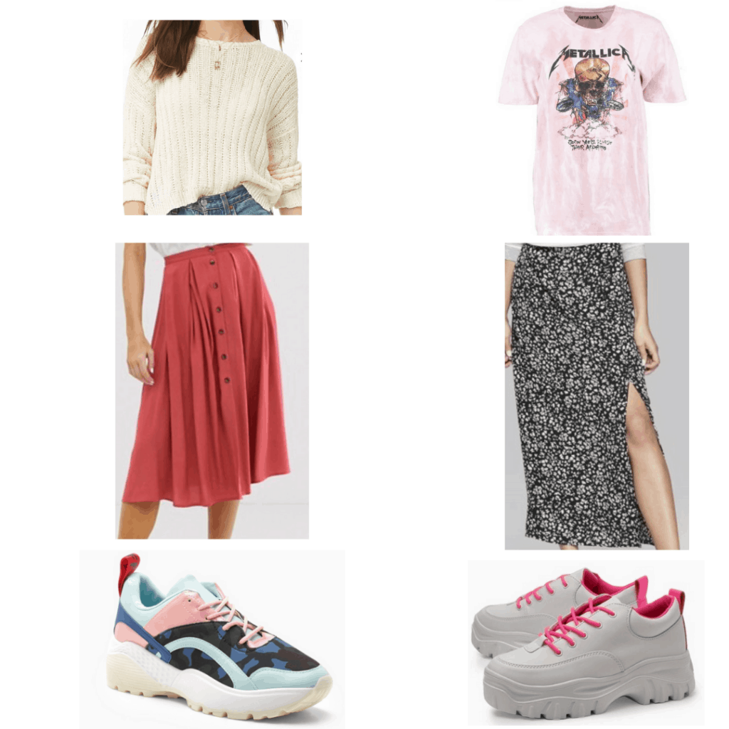 Dad shoes outfit: open knit sweater, Metallica band t-shirt, button front midi skirt, maxi skirt with slit, camo dad shoes, neon dad shoes
