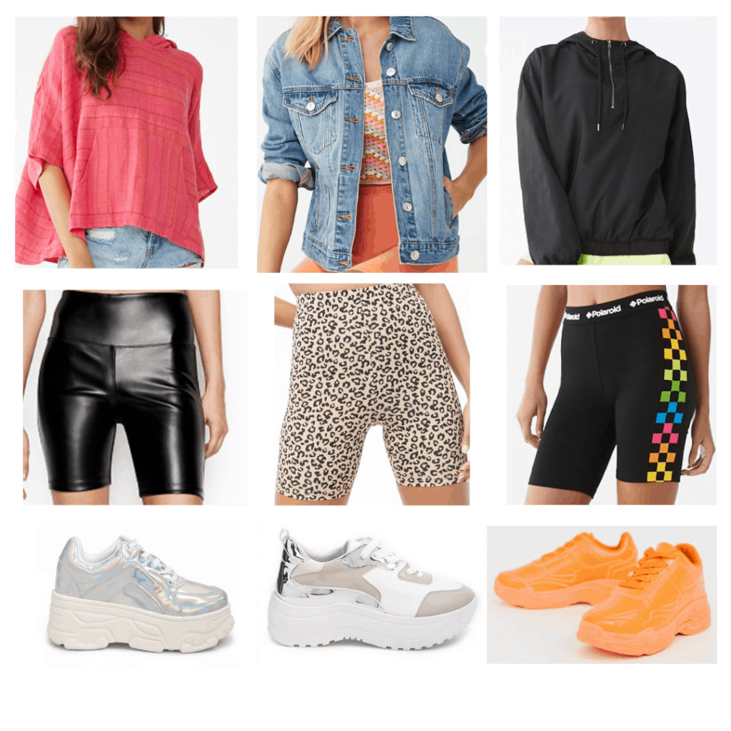 Dad Shoes: Hooded top, denim jacket, hooded anorak, leather biker shorts, leopard biker shorts, Polaroid biker shorts, iridescent dad shoes, platform dad shoes, orange dad shoes