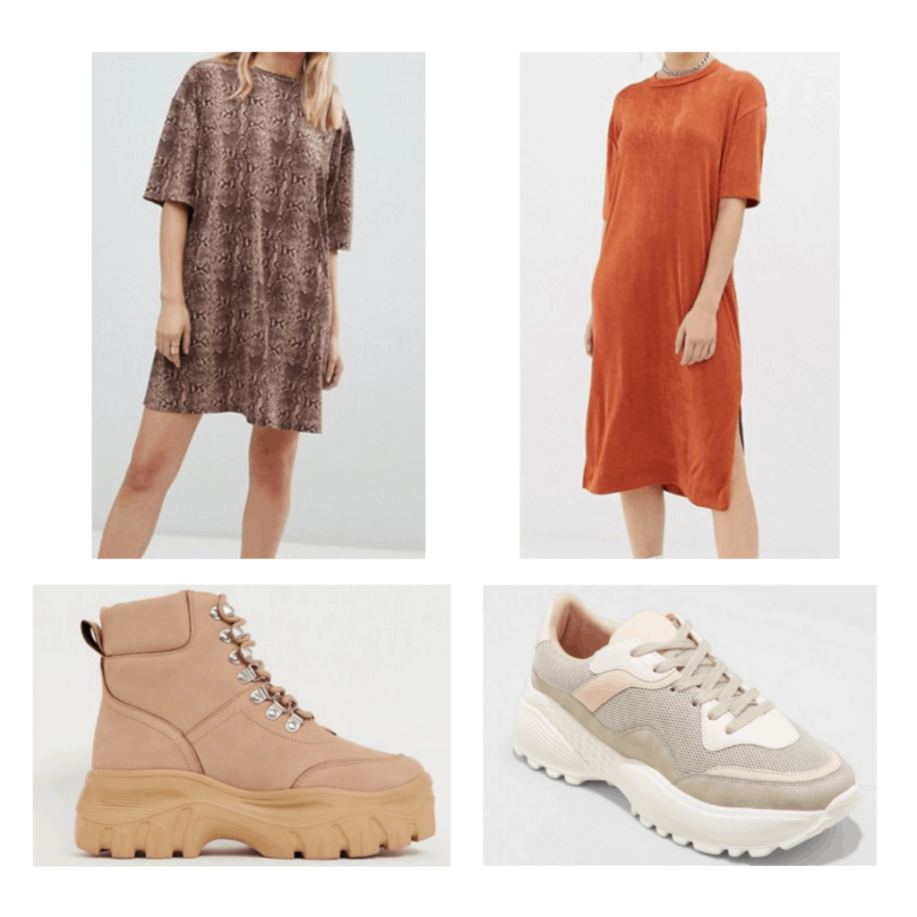 Dad shoes outfits: snakeskin shirt dress, slinky shirt dress, boot dad shoes, tan dad shoes
