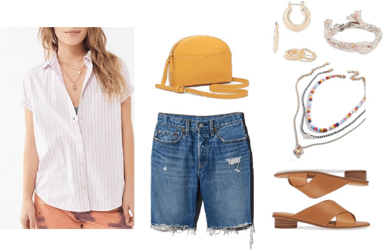 Denim bermuda shorts outfit with white button down shirt, distressed bermuda shorts, yellow bag, sandals, layered necklaces and friendship bracelets