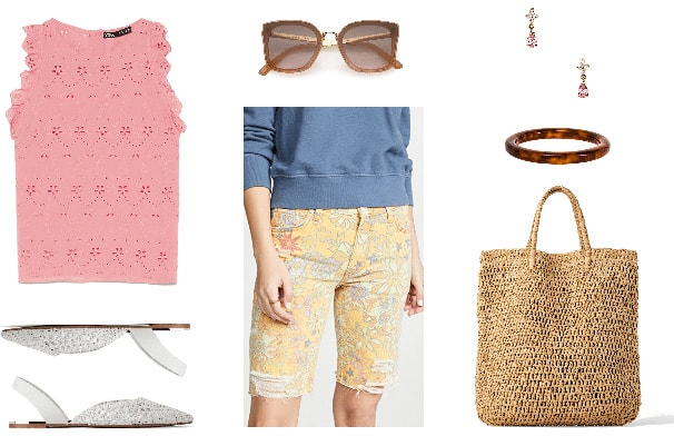 Denim bermuda shorts outfit with floral bermuda shorts, pink tank, slip on sandals, sunglasses, woven bag
