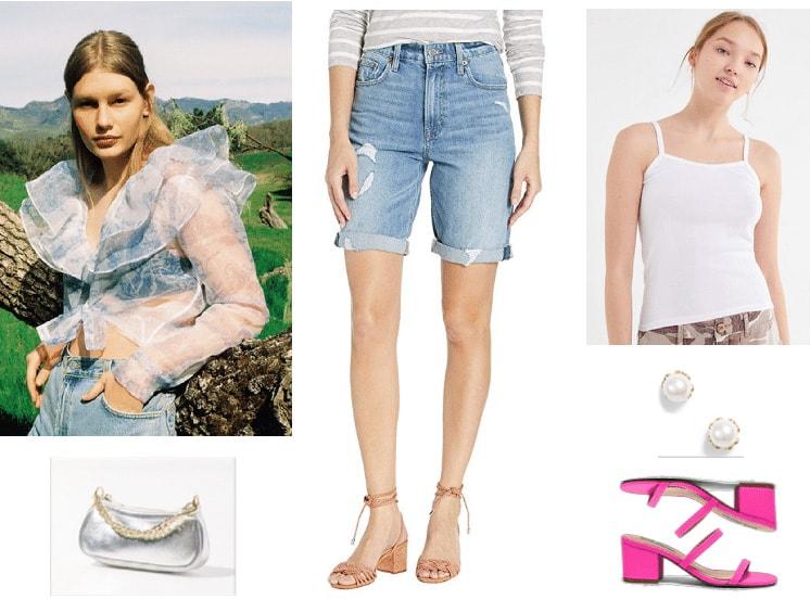 Denim bermuda shorts outfit with sheer ruffle top, white tank, pink sandals, pearl earrings, metallic bag