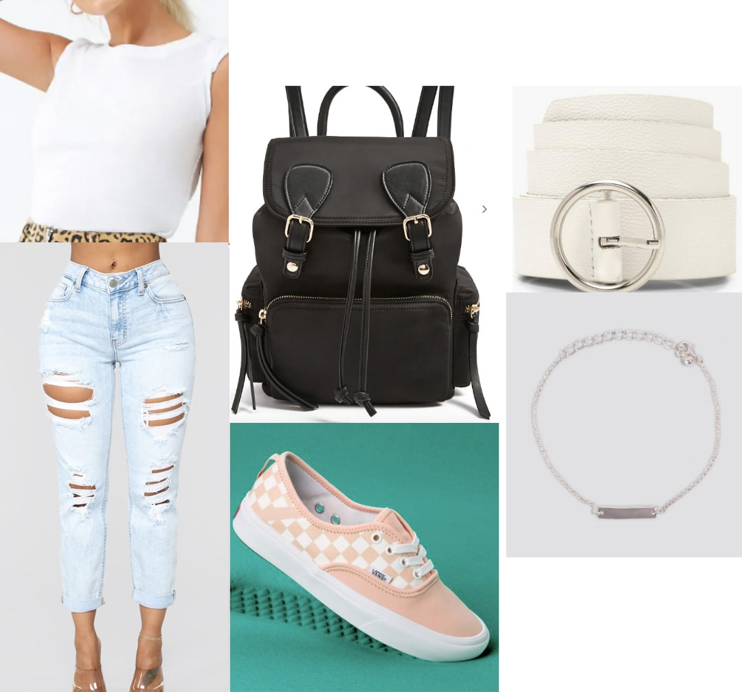 How to wear ultra distressed jeans to class - ripped jeans, cropped tee, vans sneakers, white belt, bracelet, black backpack