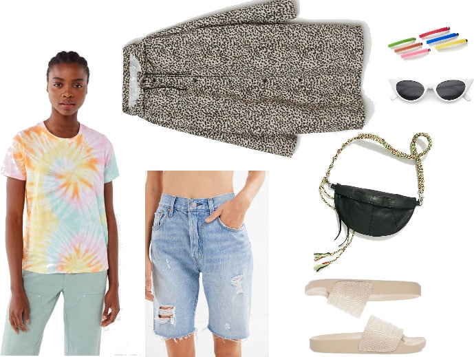 Music festival inspired outfit with tie dye shirt, bermuda denim shorts, printed coat, slides, sunglasses, barettes