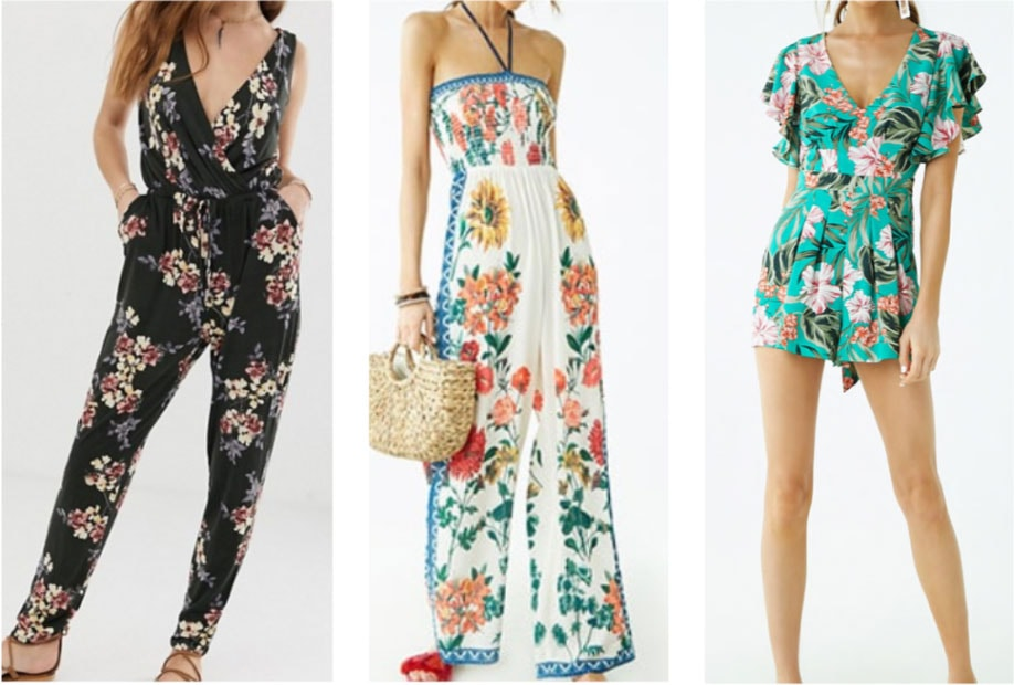 Floral rompers and jumpsuits: Sleeveless jumpsuit, halter jumpsuit, frill sleeve romper