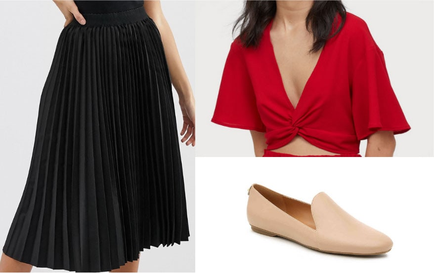 Gemma Chan outfit 1 with black pleated skirt, red knot front crop top, beige loafers