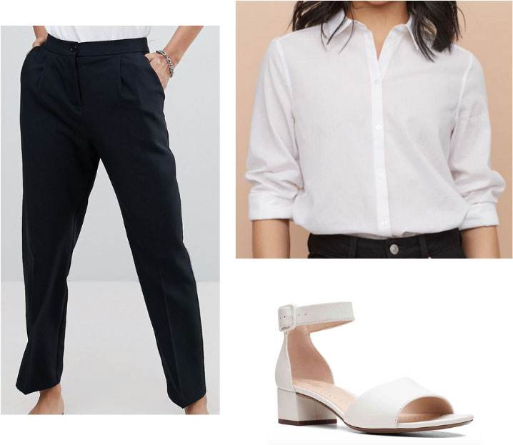 Gemma Chan outfit with black trousers, white button-down shirt, white strappy heels