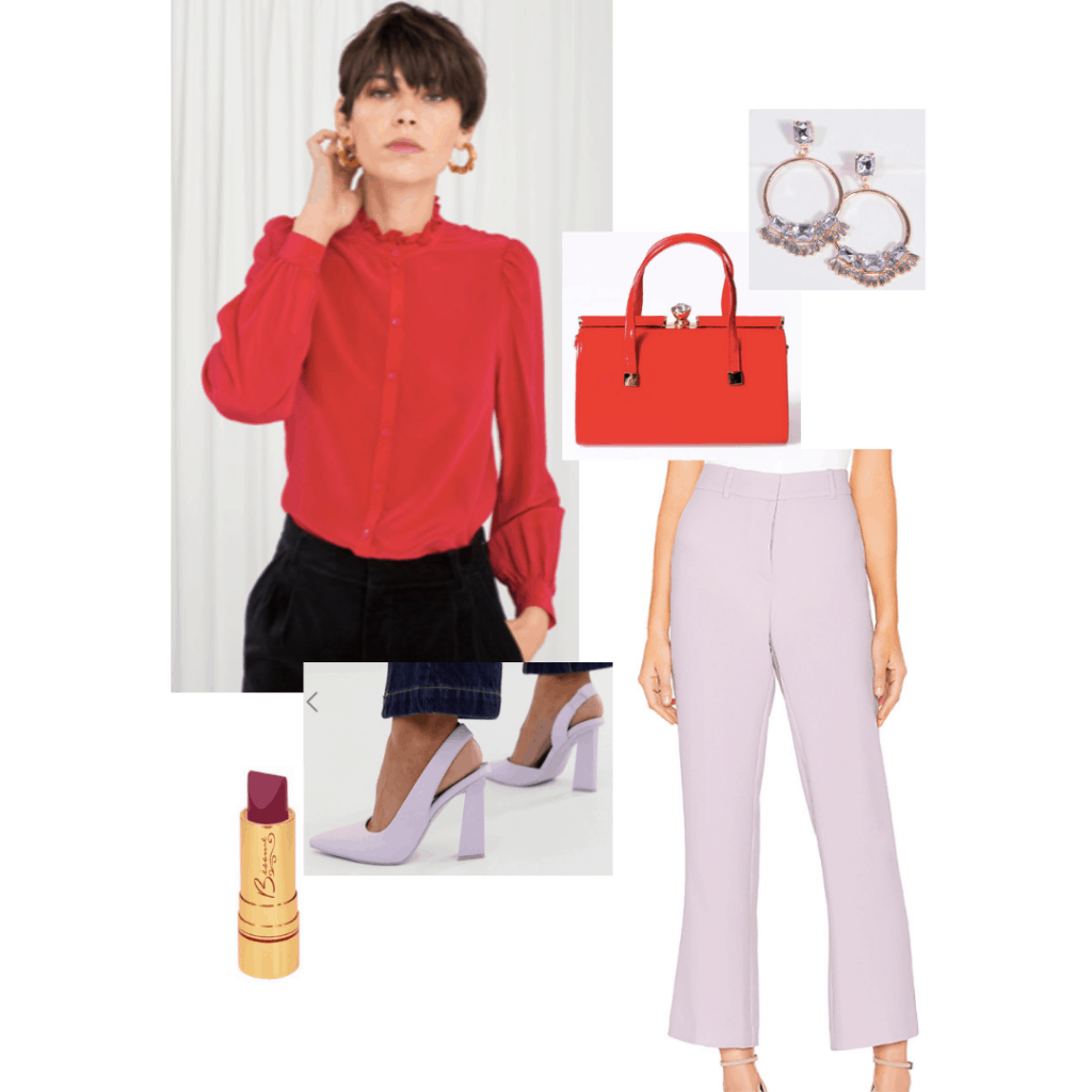 Outfit inspired by The Grand Budapest hotel: Red blouse, purple trousers, lavender heels, vintage earrings, red purse