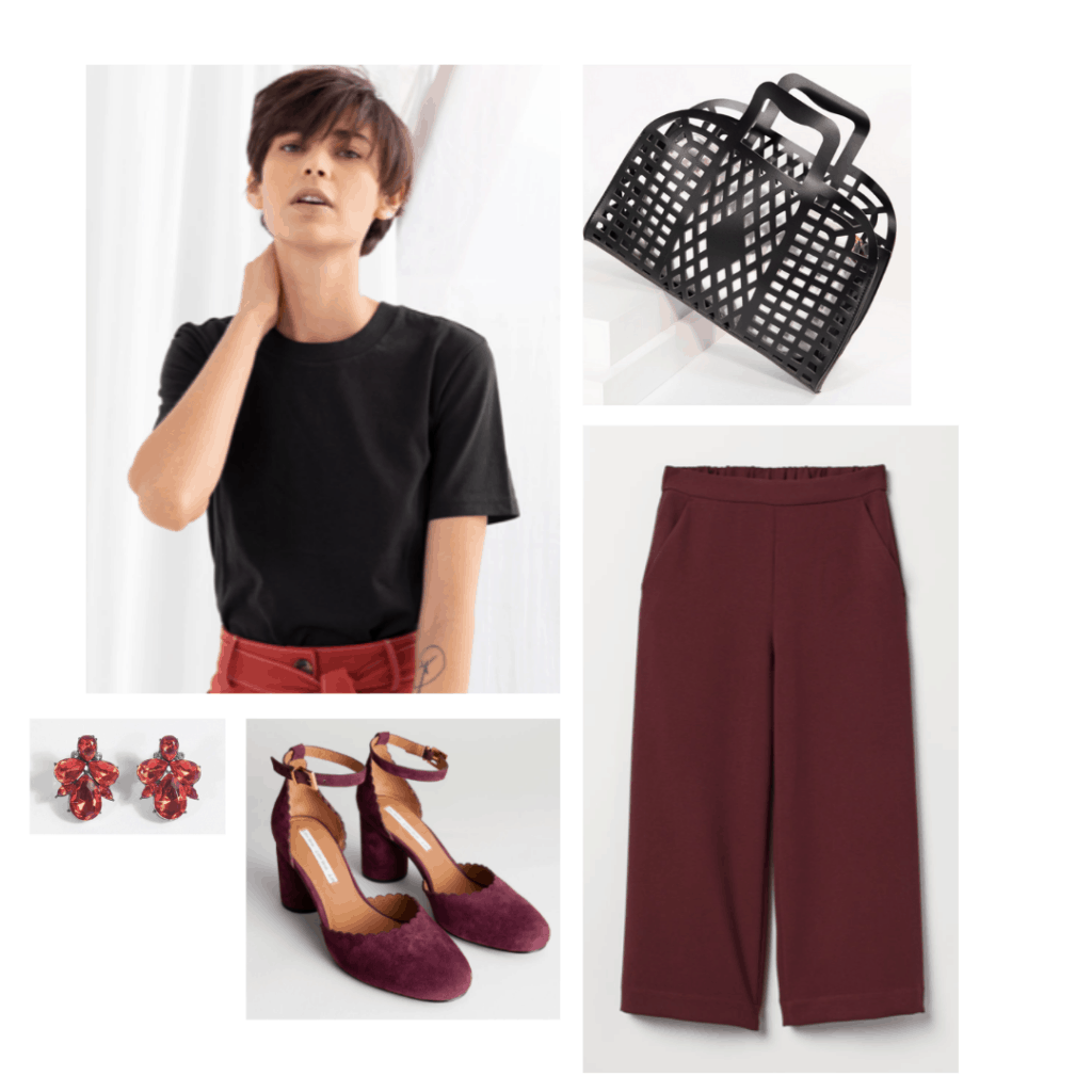 Melisandre inspired outfit with dark red pants, black tee, red suede pumps, cutout bag