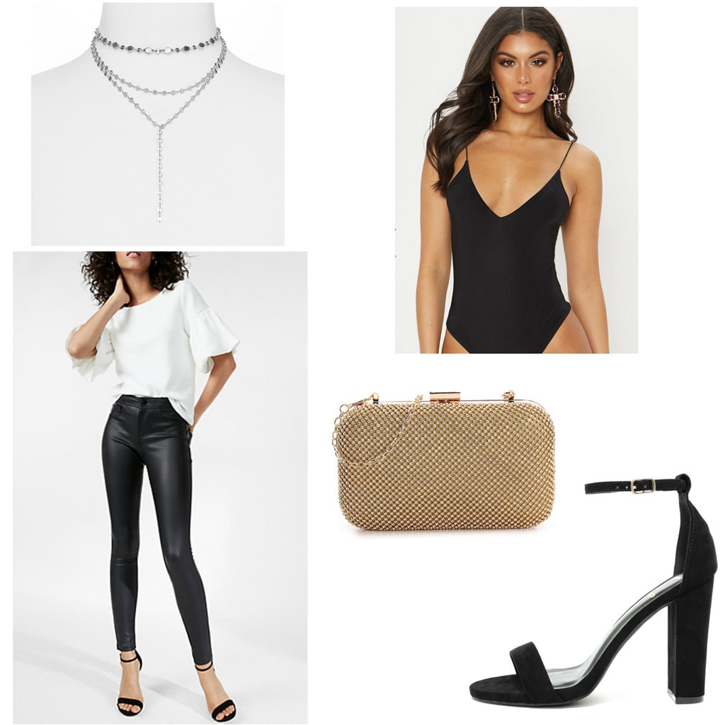 21st birthday outfit with black leather leggings, black heels, gold clutch, black strappy bodysuit, choker