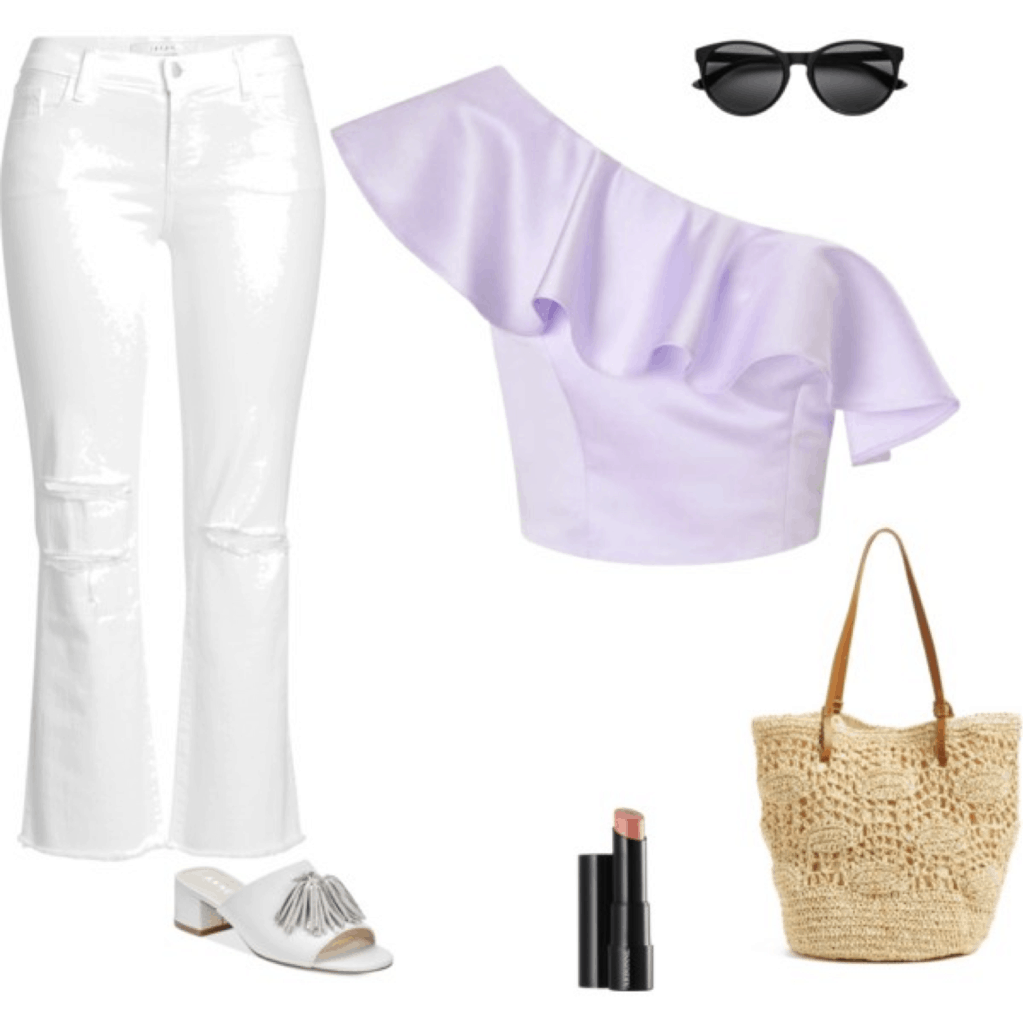 Mary Seng Happily Grey look for less: Ruffled one shoulder top in lavender, cropped flares in white, tassel slides in white, woven handbag