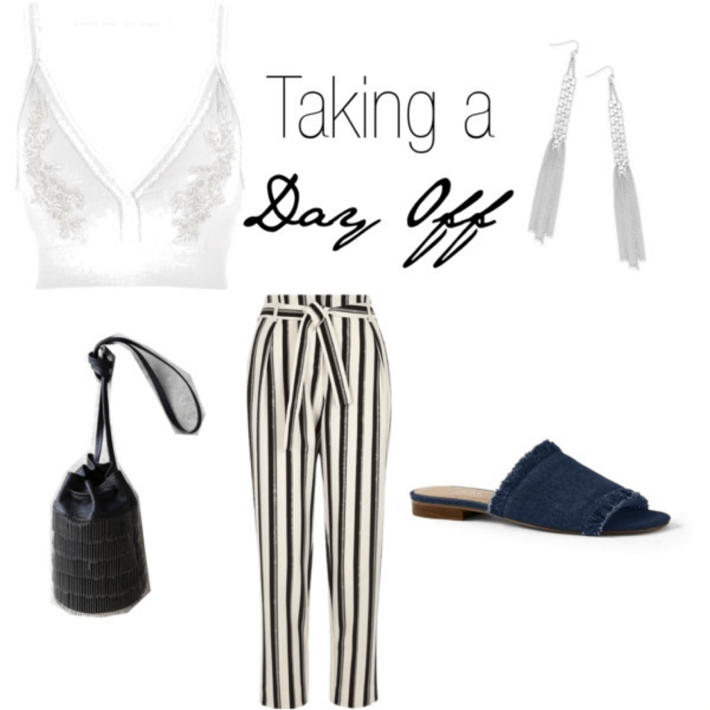 Mary Seng Happily Grey look for less: White and gray bralette top, black and white striped pants, denim slides, black bucket bag, dangly earrings