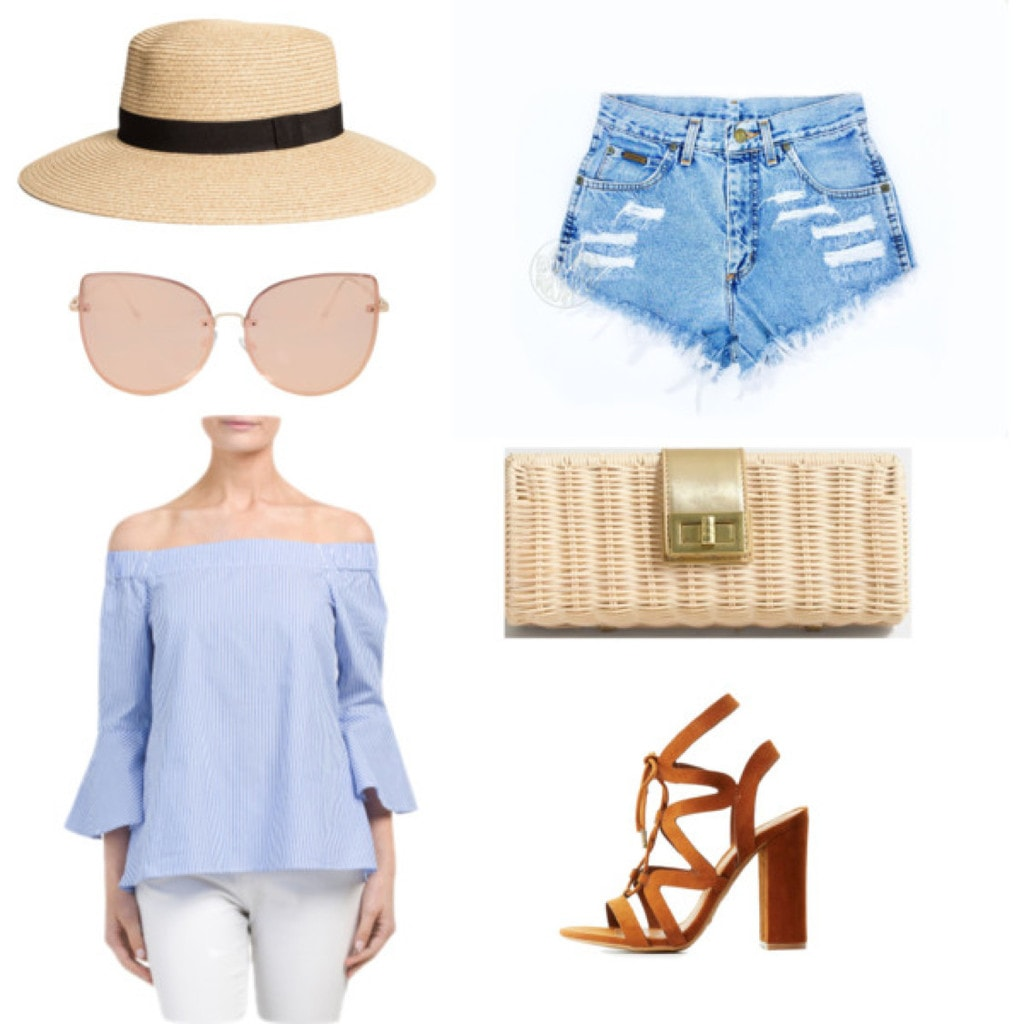 Mary Seng Happily Grey look for less: Striped off shoulder top, denim shorts, lace up heels, wide brim straw hat, sunglasses, woven clutch