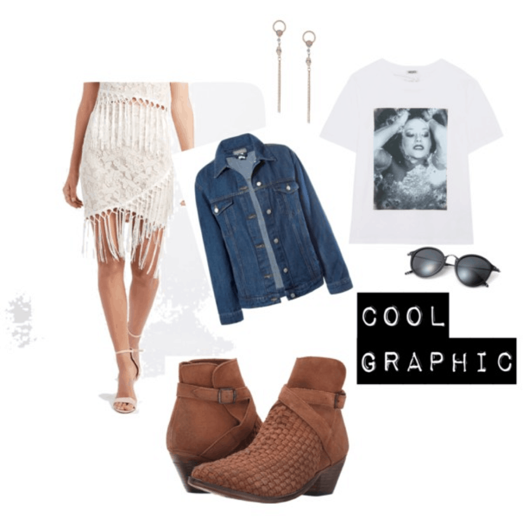 Mary Seng Happily Grey look for less: Outfit with graphic tee, fringe skirt, oversized denim jacket, brown ankle booties, clubmaster sunglasses