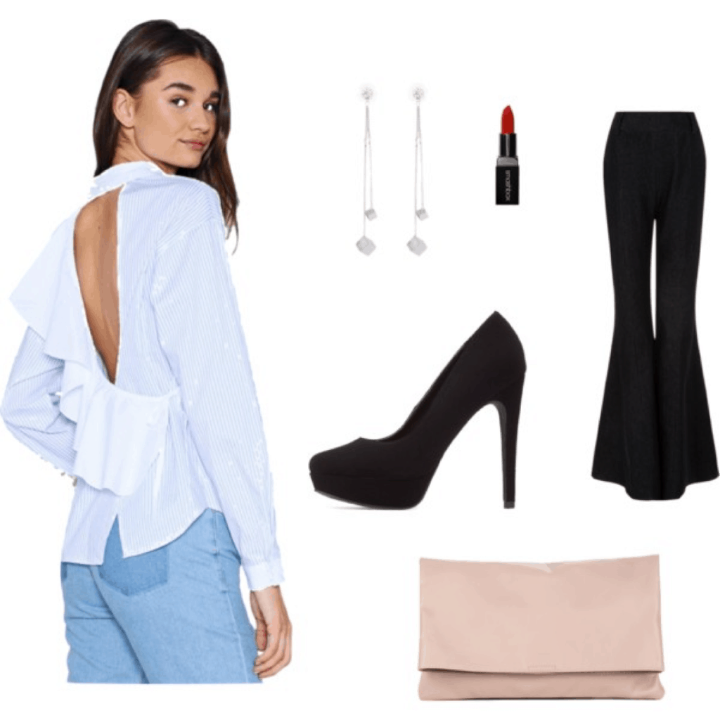 Mary Seng Happily Grey look for less: Outfit with blue and white stripe ruffled back top, black flared pants, black platform heels, red lipstick, dangly silver earrings and pink clutch