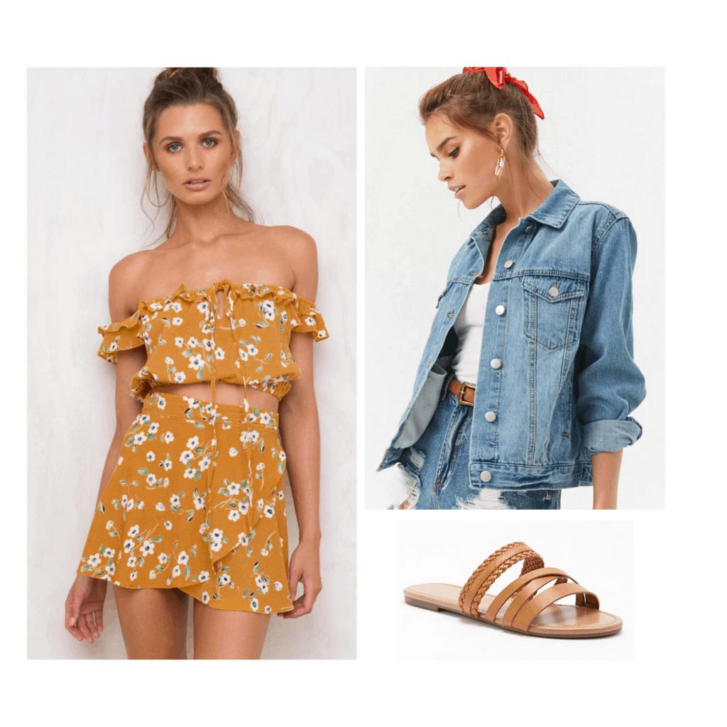 floral set, denim jacket, slides, sandals, summer