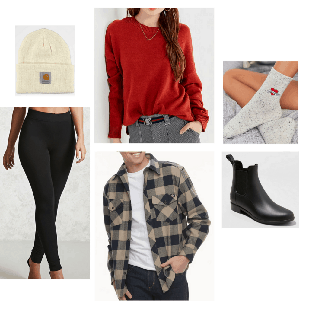 camping, red sweater, socks, black boots, beanie, leggings, flannel, summer