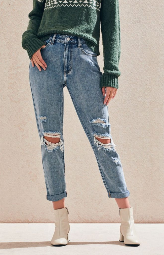Light wash mom jeans with holes