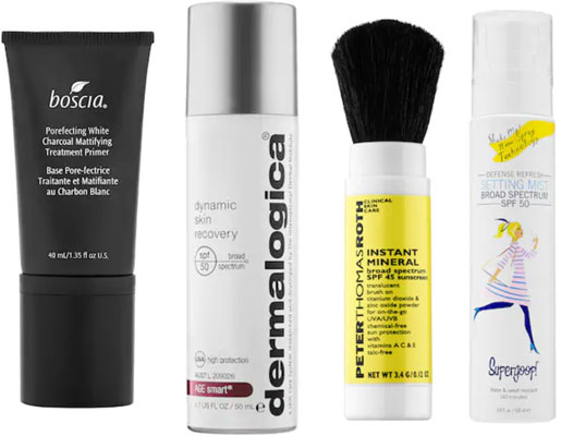 Music festival beauty: Face products with primer, skin recovery SPF, mineral based SPF and spf setting spray