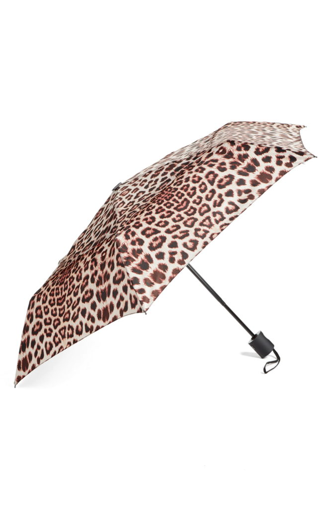 Mothers day gifts: Open leopard-patterned umbrella with black handle