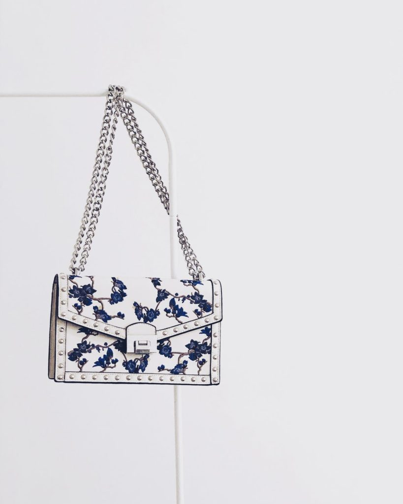 Floral white and navy purse