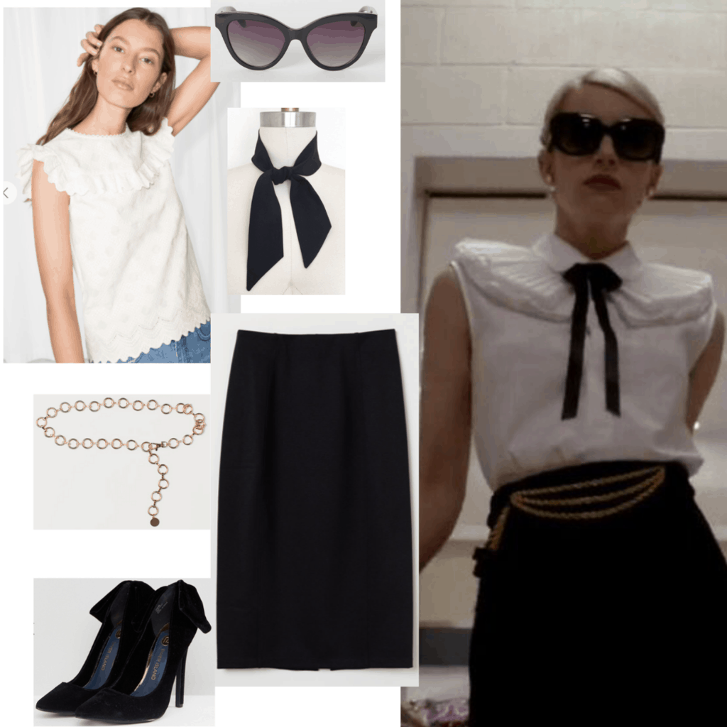 How to dress like Chanel Oberlin from Scream Queens: Outfit idea with black pencil skirt, white blouse with black bow, black heels