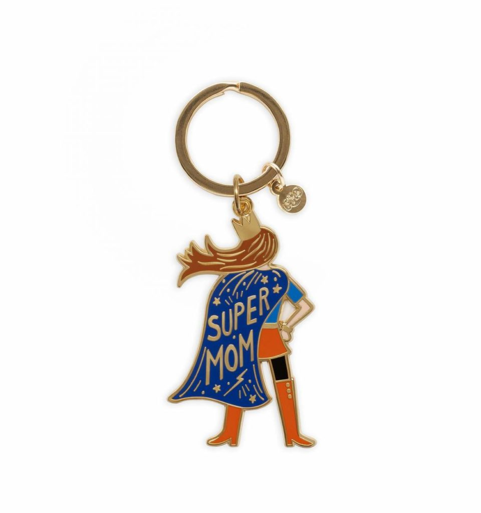 Mother's day gifts: Brass keyring with polished, glossy-finished enamel charm featuring a