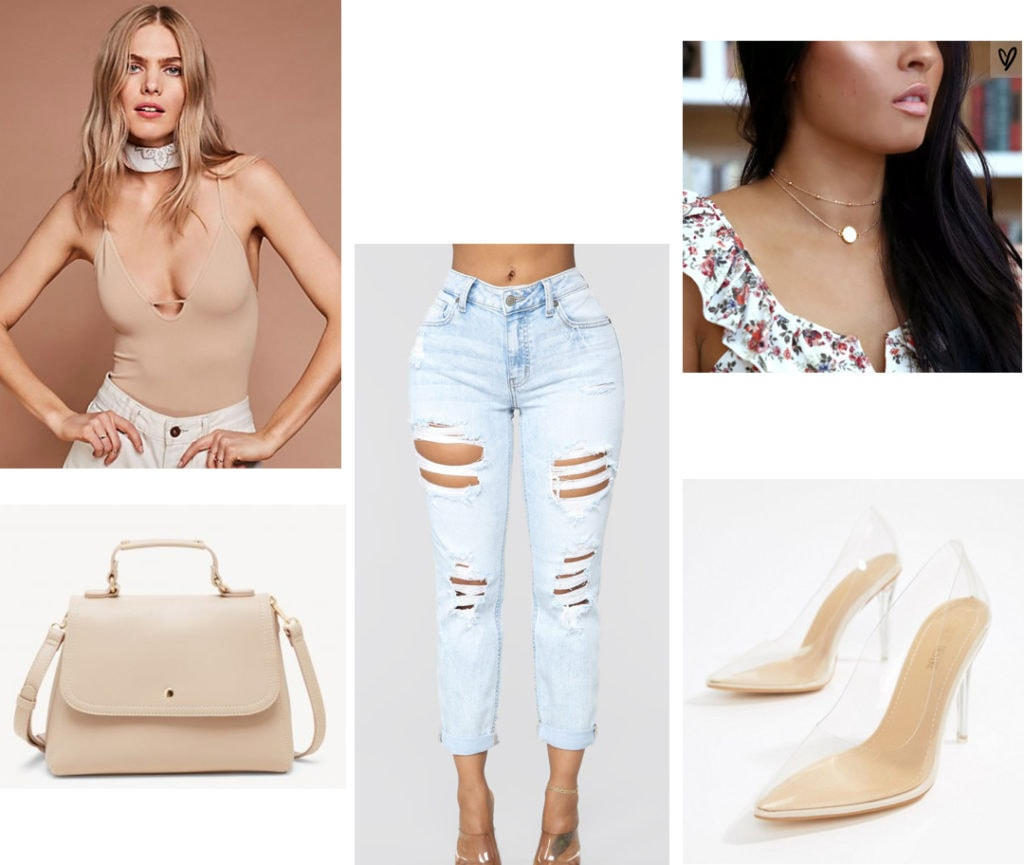 Ripped jeans outfit for night with nude bodysuit, clear heels, simple necklace, nude satchel