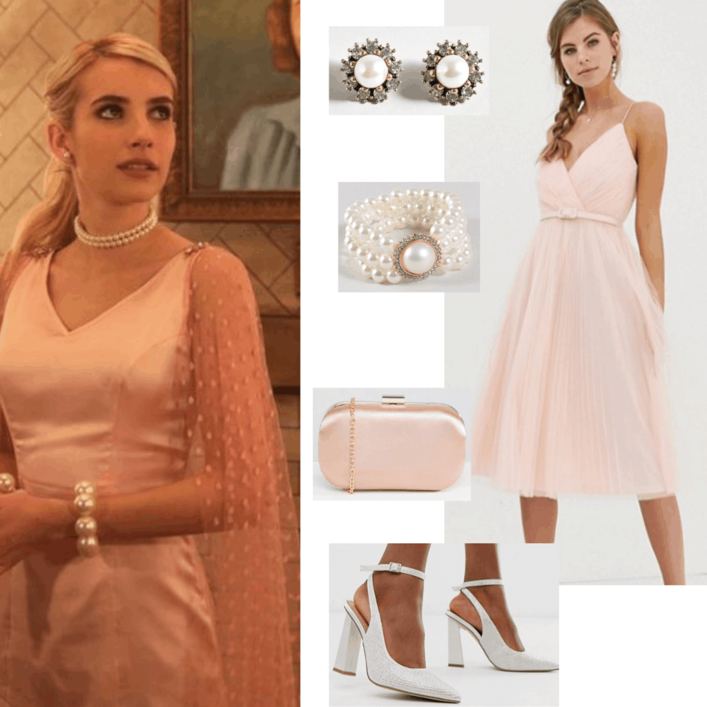 Chanel Oberlin style outfit from Scream Queens with pink formal dress, white heels, pink chain strap bag