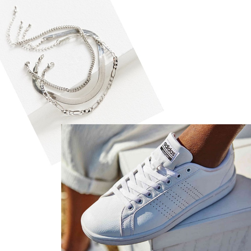 Silver chain anklet and white sneakers