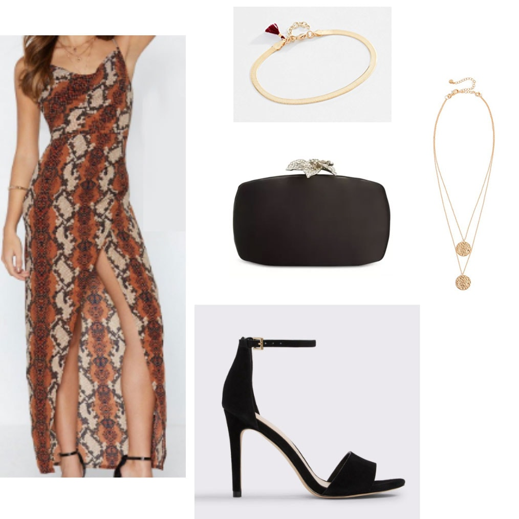 Sorority formal outfit with snakeskin print maxi dress, strappy black heels, black box clutch, gold jewelry