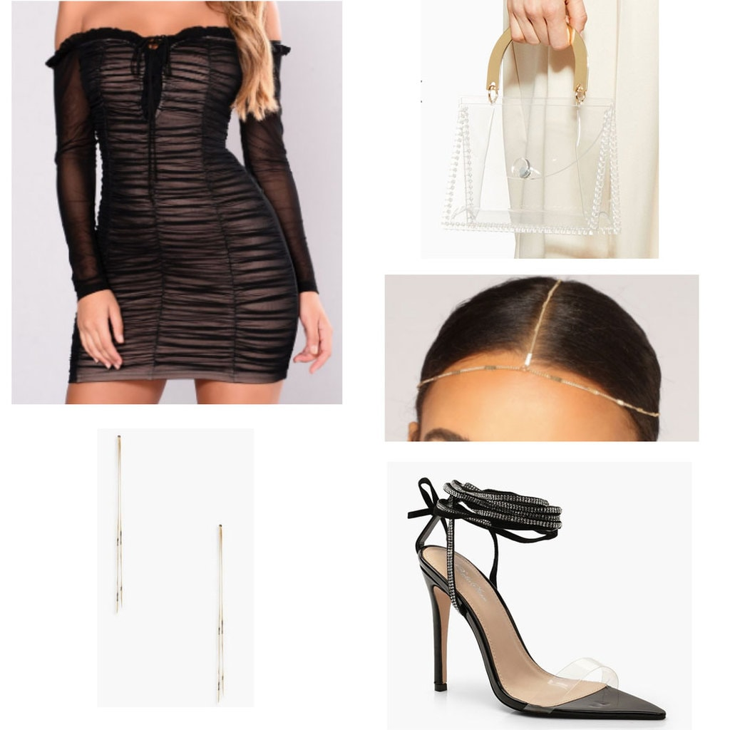 Sorority formal outfit with off the shoulder dress, long earrings, mini bag, hair jewelry, and lace up perspex heels