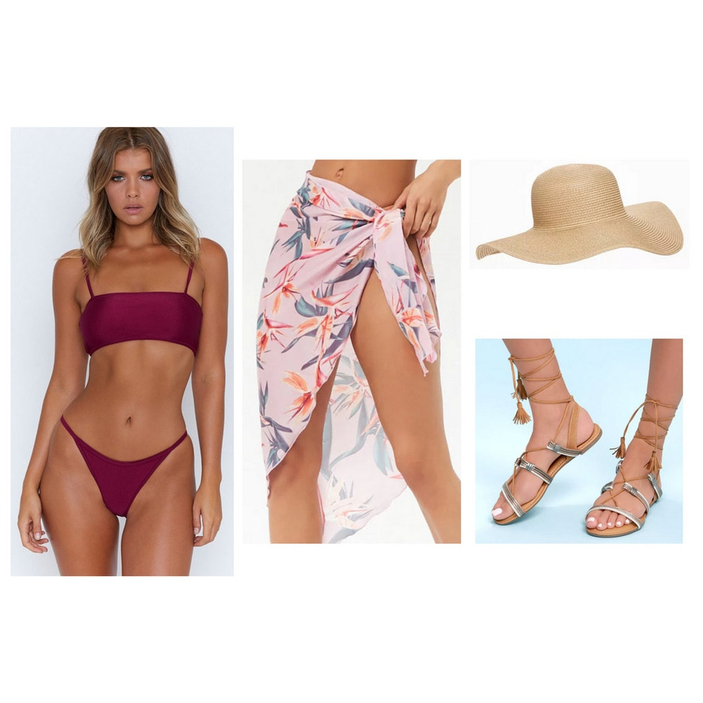 swimsuit, bikini set, sarong, wrap, straw sun hat, gladiator sandals