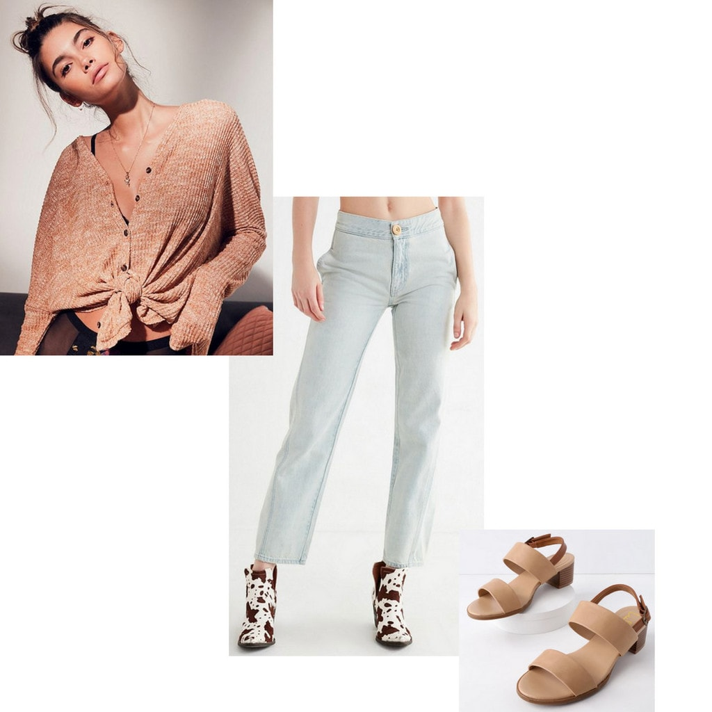 straight leg jeans, sandals, top, shirt