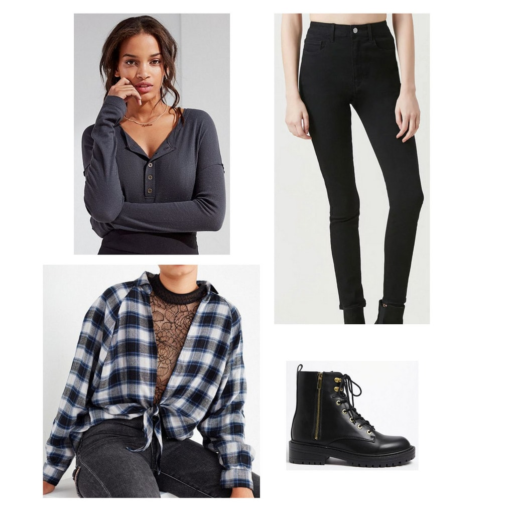 henley, black high waisted jeans, flannel, black combat boots