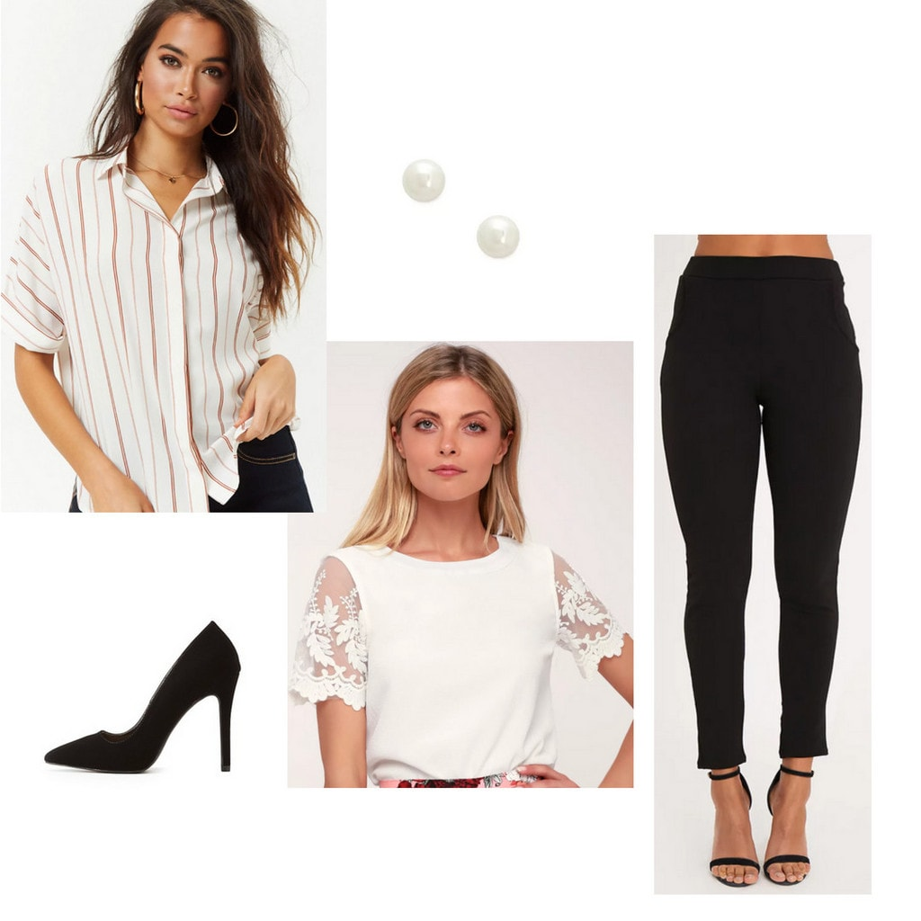 business formal, internship, trousers, cigarette pants, pearl earrings, black heels, blouse, button-up